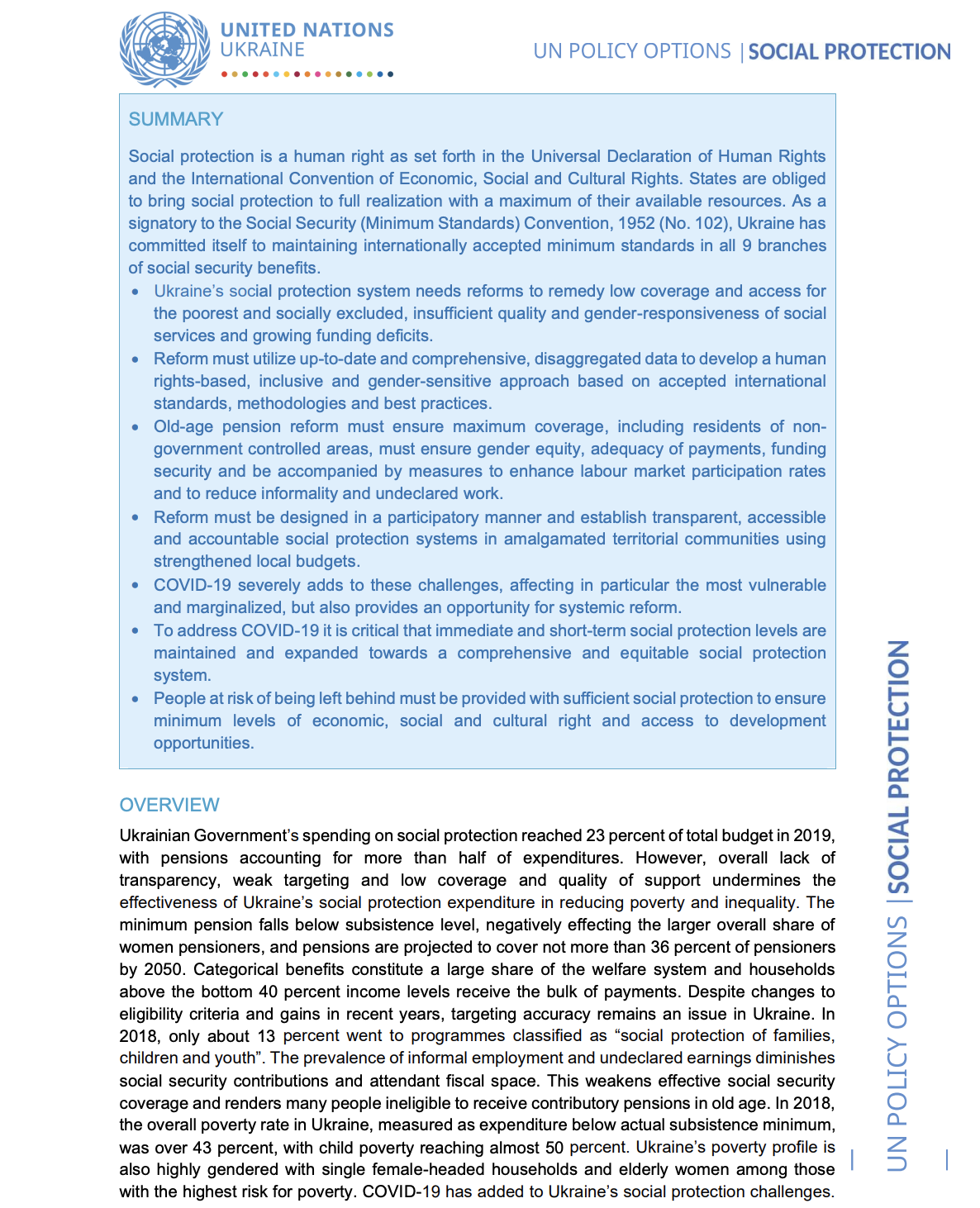 UN Policy Paper on Social Protection in Ukraine