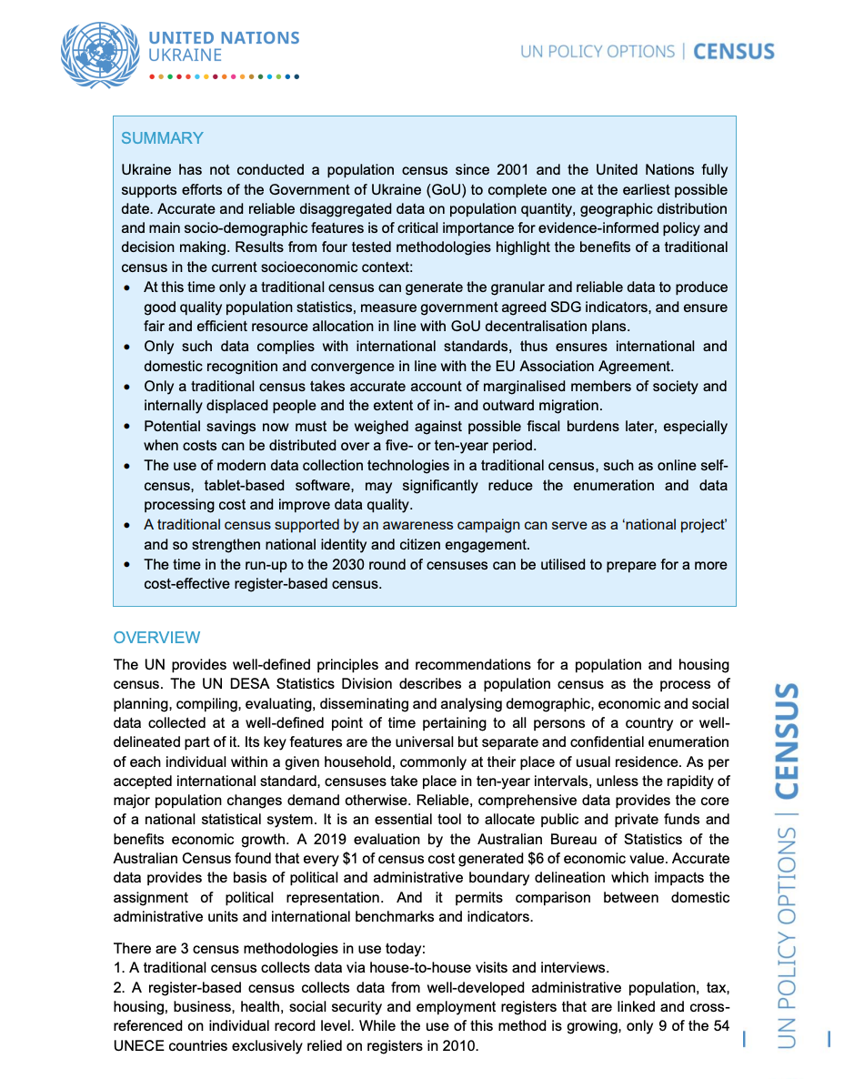 UN Policy Paper on Census