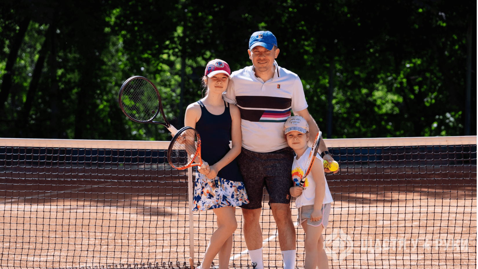 Ivan Krulko with daughters Anna and Khrystyna